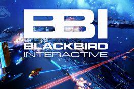 Bild einer Weltraumschlacht mit dem Blackbird Interactive Logo darauf