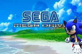 Bild mit Sonic am Strand und dem Sega Mega Drive Logo