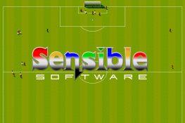 Fußballfeld mit den winzigen Sensible Soccer Spielerfiguren und Sensible Software Logo darauf