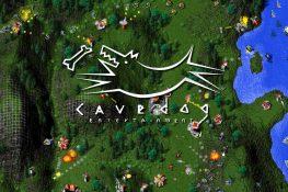 Schlacht zwischen Total Annihilations Arm und Core Fraktionen mit dem Cavedog Logo darüber