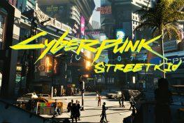 Straßenecke von Night City mit Cyberpunk Logo