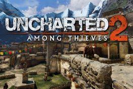 Dorf im Himalya Gebirge mit Uncharted 2 Logo darauf