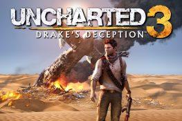 Nathan Drake vor einem abgestürzten Flugzeug in der Wüste
